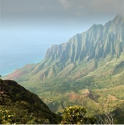 vista de una ladera montañosa en Kauai