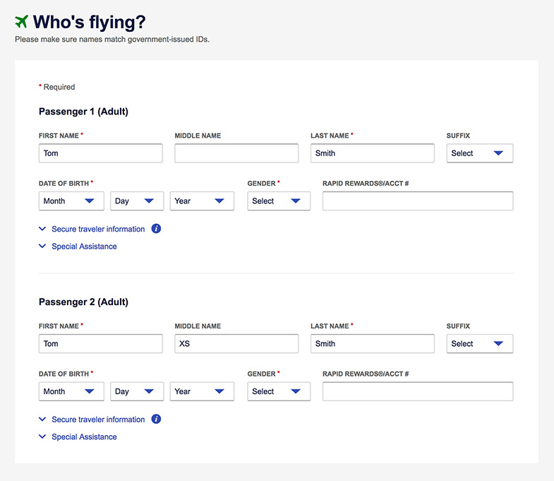 An image of a booking flow screenshot of entering the Passenger information on Southwest.com