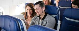 Inflight Internet - a couple watching a movie on a Southwest flight
